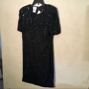 Stenay VTG Blk Sequin Dress, Sz 10